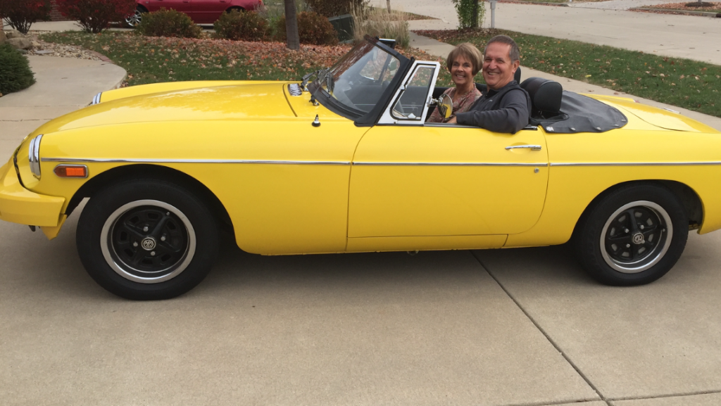 Jim & Barb Broach 1976 MGB They call me Mello Yellow!