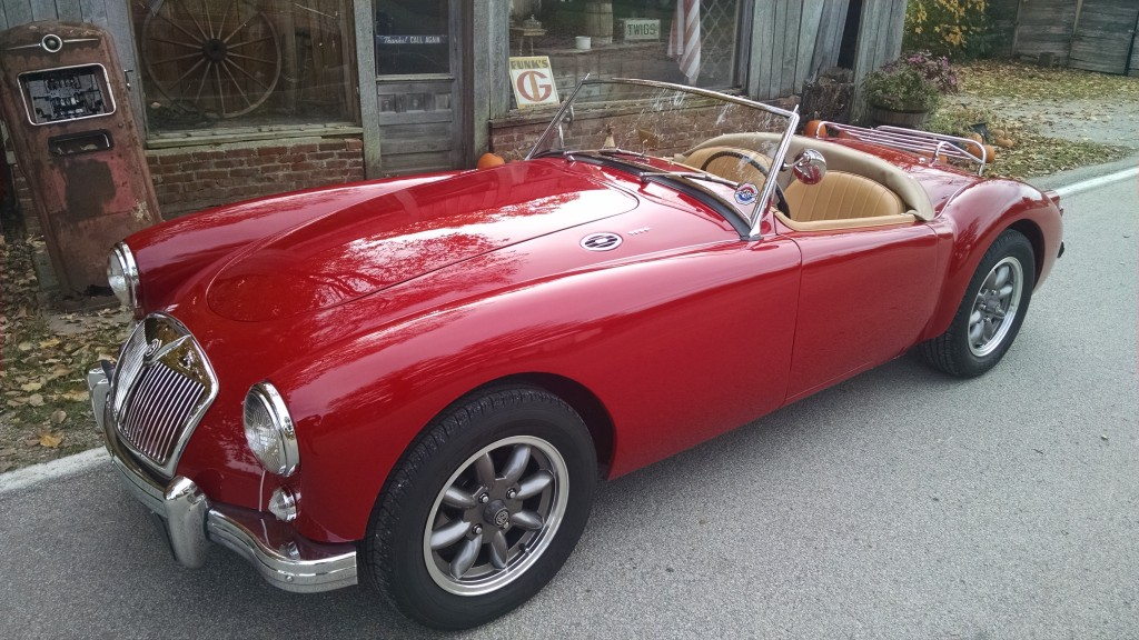 Alan & Terri Kleinschmidt - We bought this car in the Fall of 2012 as a retirement project for myself. It is a 1960 MGA. I had originally planned to just get it running, but one thing led to another and before I knew it, I was completely redoing the car. Everything, other than the engine, was done at home in my garage. I spent 21 months and right at 900 hours to complete the car. I really enjoyed rebuilding this car and driving it now always puts a big smile on my face.