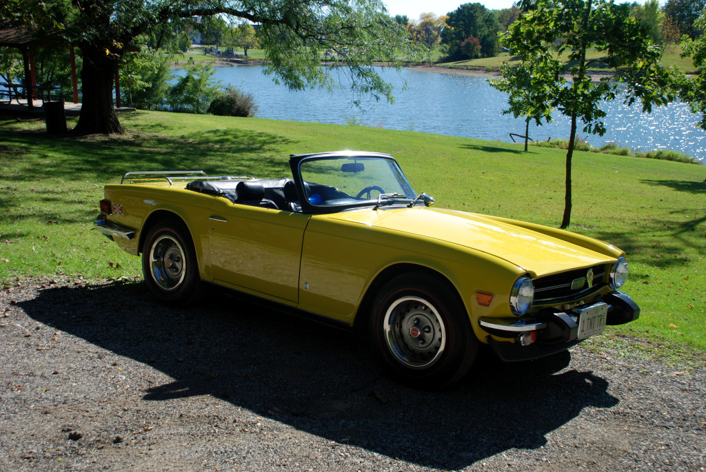 Terry and Kathy Tate - Here is our 1974 1/2 Triumph TR6. It is considered a mid-year production car having some changes that occurred in 1975 model such as the rubber bumper overriders and turn indicators below the bumper instead of above. The color is Mimosa. The grandkids refer to it as Bumblebee. It had about 46,000 miles on it when we purchased it in 2012. We found it in Ohio, bought it and drove it the 400+ miles home.